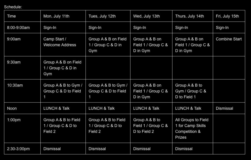Buffalo Camp Schedule bw