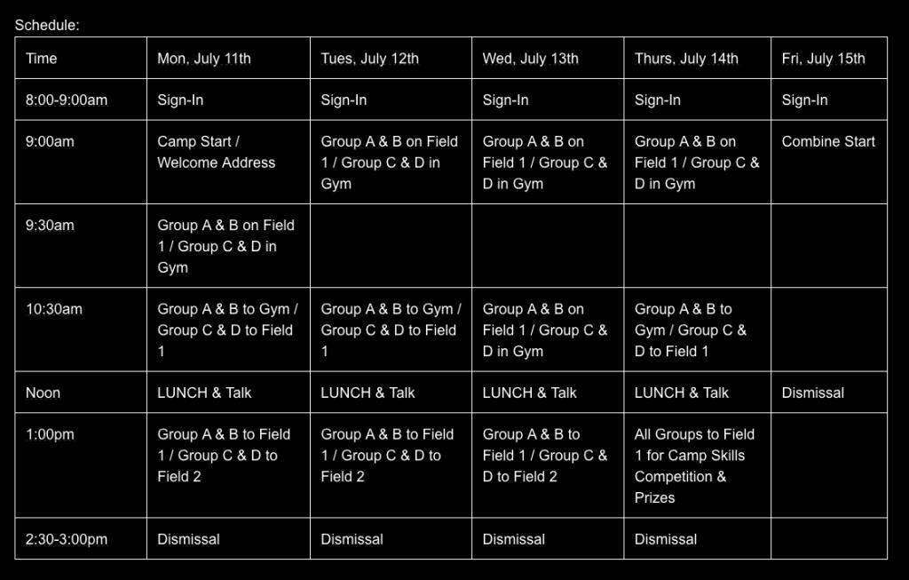 Buffalo Camp Schedule bw
